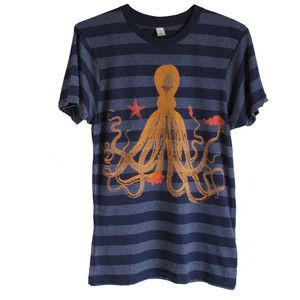 Octopus Tee Unisex Stripes