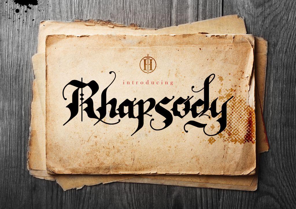 New Free Font Rhapsody Black Letter By Heroglyphsstudio  Free