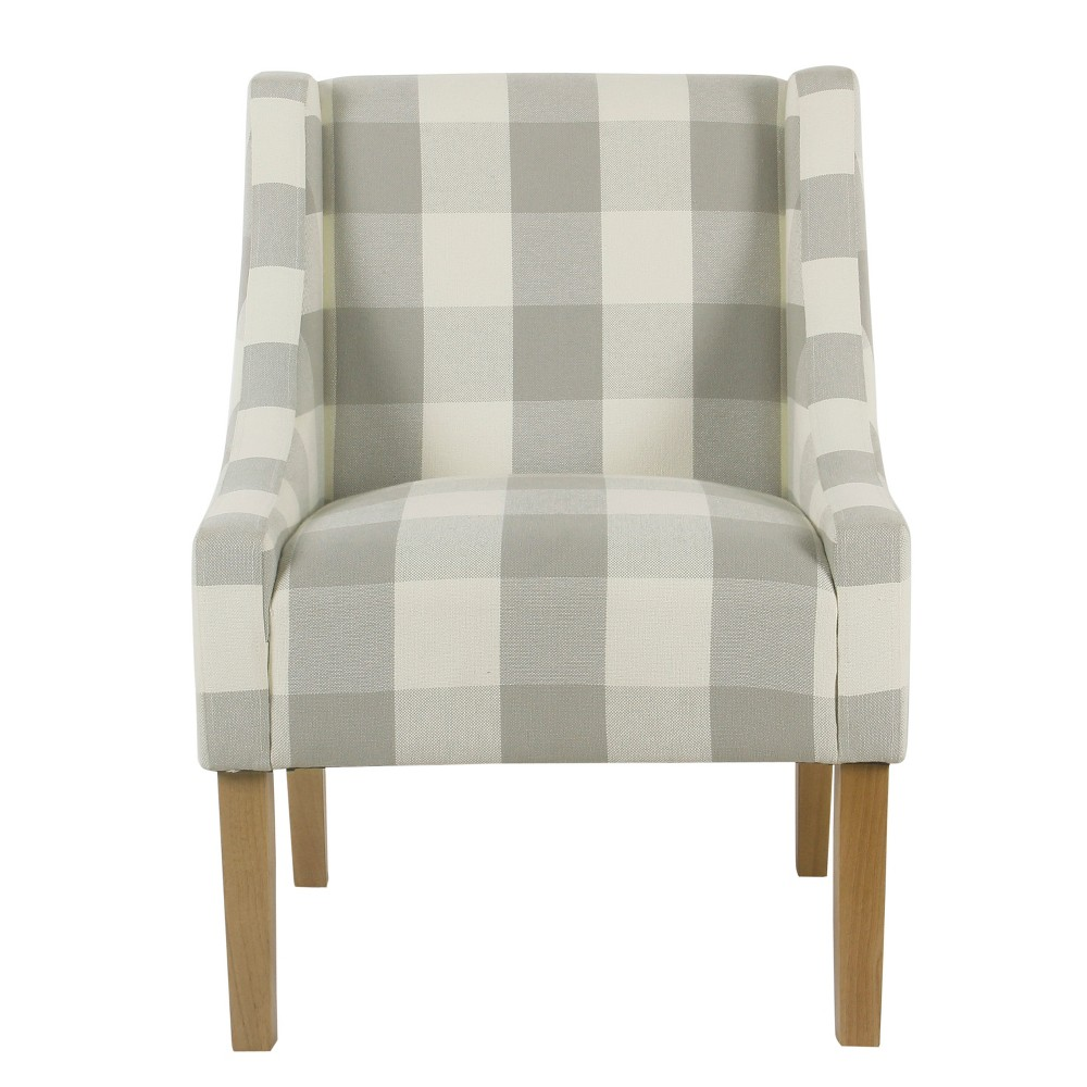 Best Modern Swoop Accent Chair Grey Plaid Homepop Gray Plaid 400 x 300