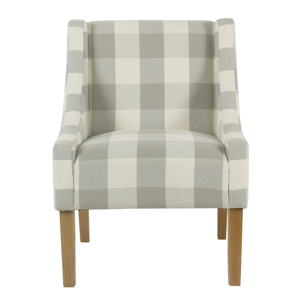 Best Modern Swoop Accent Chair Grey Plaid Homepop Gray Plaid 640 x 480
