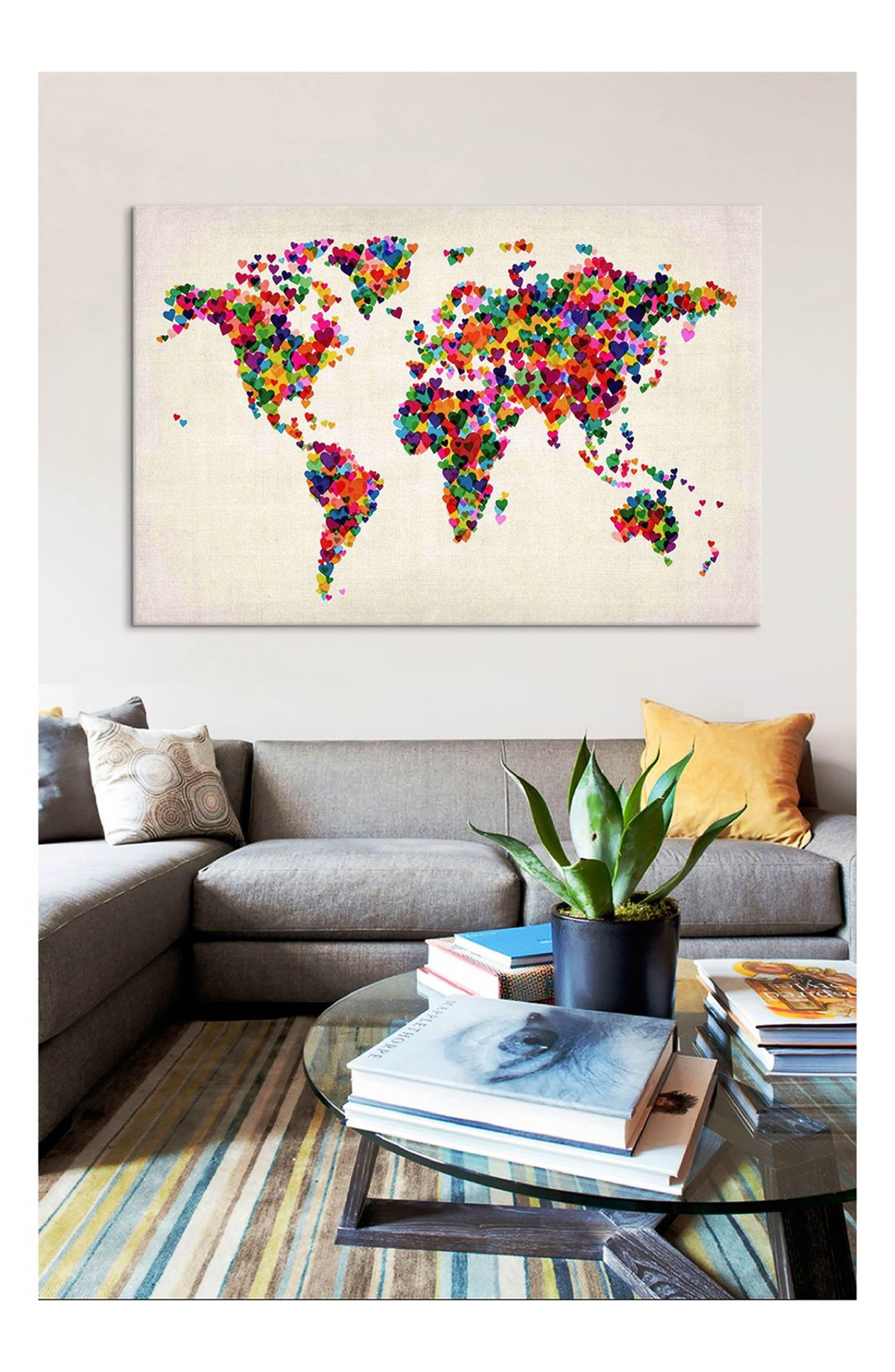 World map hearts michael thompsett gicle print canvas art world map hearts michael thompsett gicle print canvas art gumiabroncs Image collections