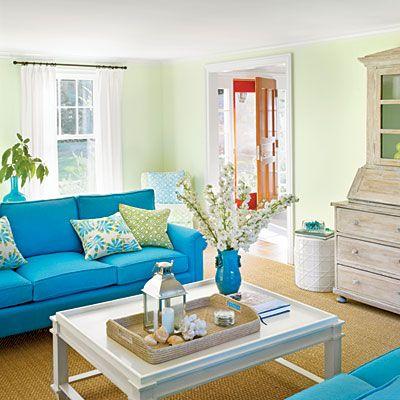 Coastal Livings Color Guide Coastal Living Room Furniture Turquoise Living Room Decor Coastal Living Room