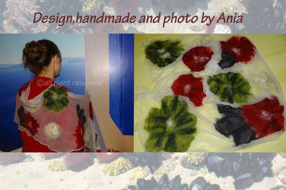 handmade Shawl  silk nuno felting by FeltingParadiseArt on Etsy, €46.00