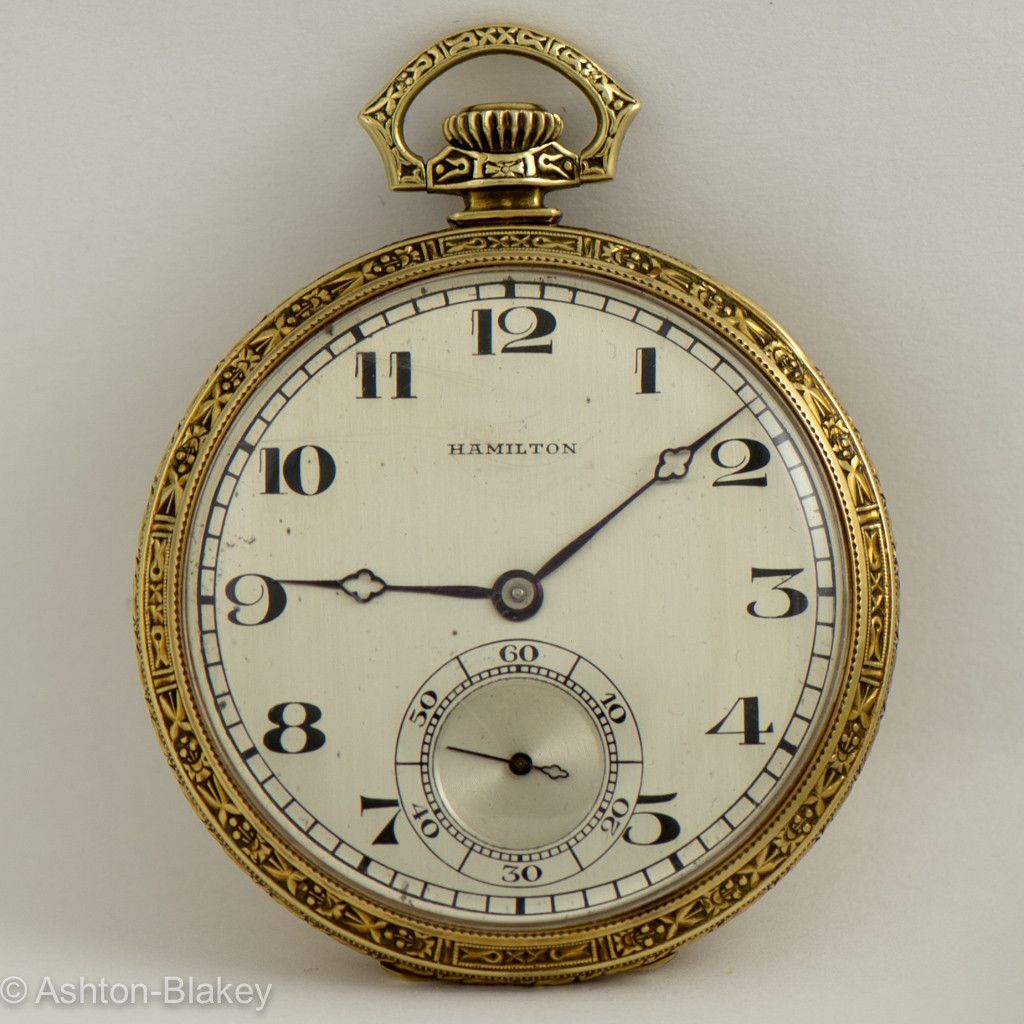 1ba42a809 HAMILTON 14K heavy solid gold open faced man's pocket watch. Model 916 with  17 Jewels