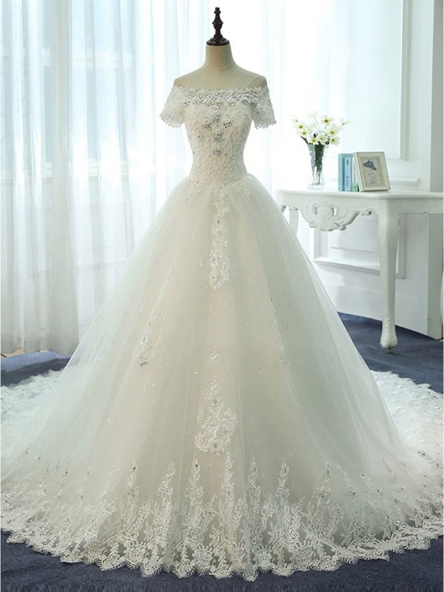 Short sleeves offtheshoulder lace sparkly wedding dresses bridal