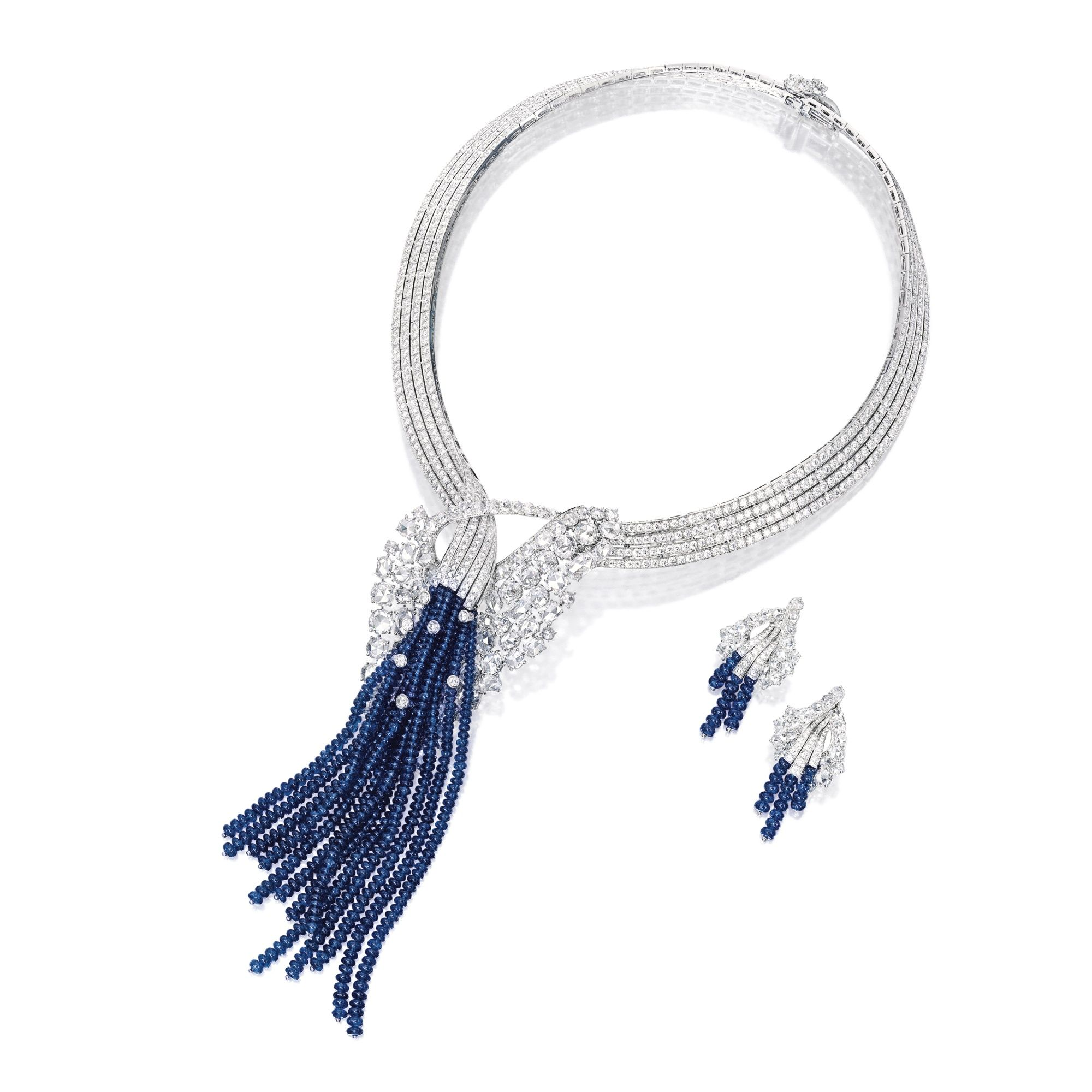 Sapphire and Diamond Necklace and Pair of Matching Earclips Van
