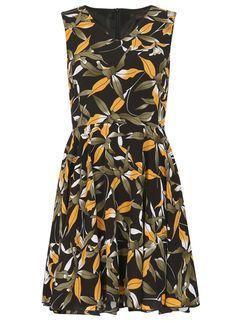 **Tenki Black Tropical Print Skater Dress