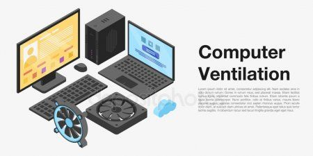 Computer ventilation concept banner isometric style  Stock Vector