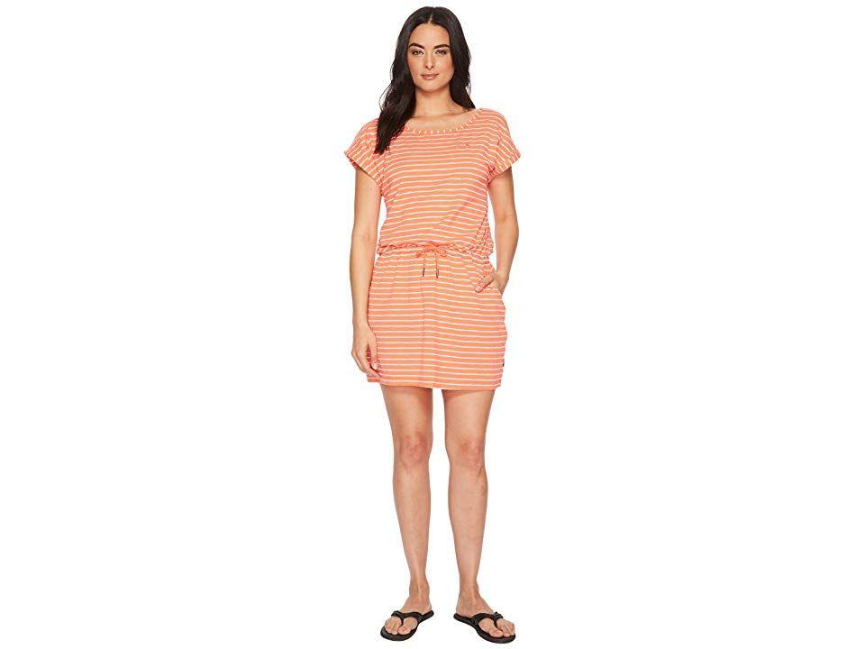 Jack Wolfskin Travel Striped Dress (Hot Coral Stripes