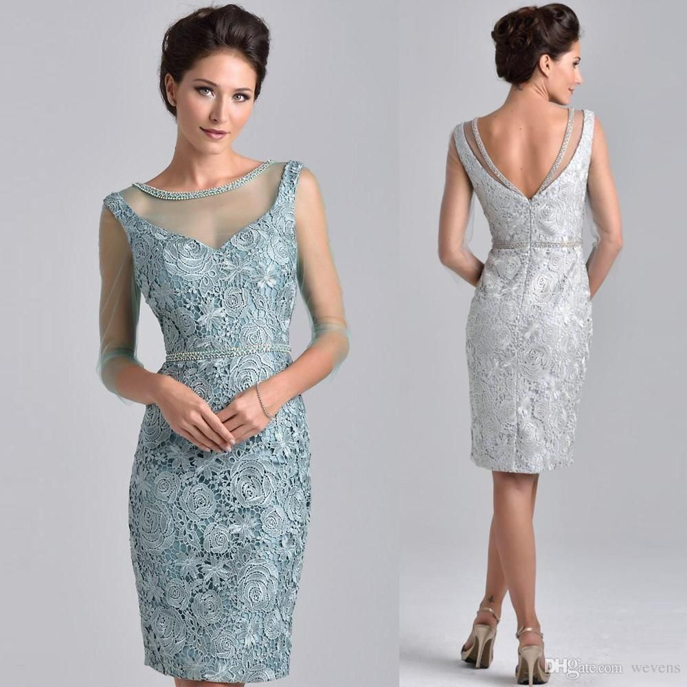 Graceful silver short mother of the bride dresses with sleeves