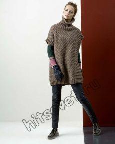 Стильное пончо спицами - Хитсовет Стильное пончо спицами. Модная модель свободного пончо для женщин с бесплатным описанием и схемой вязания. Вам потребуется: 400 (450) грамм светло-коричневой пряжи LANGYARNS MILA