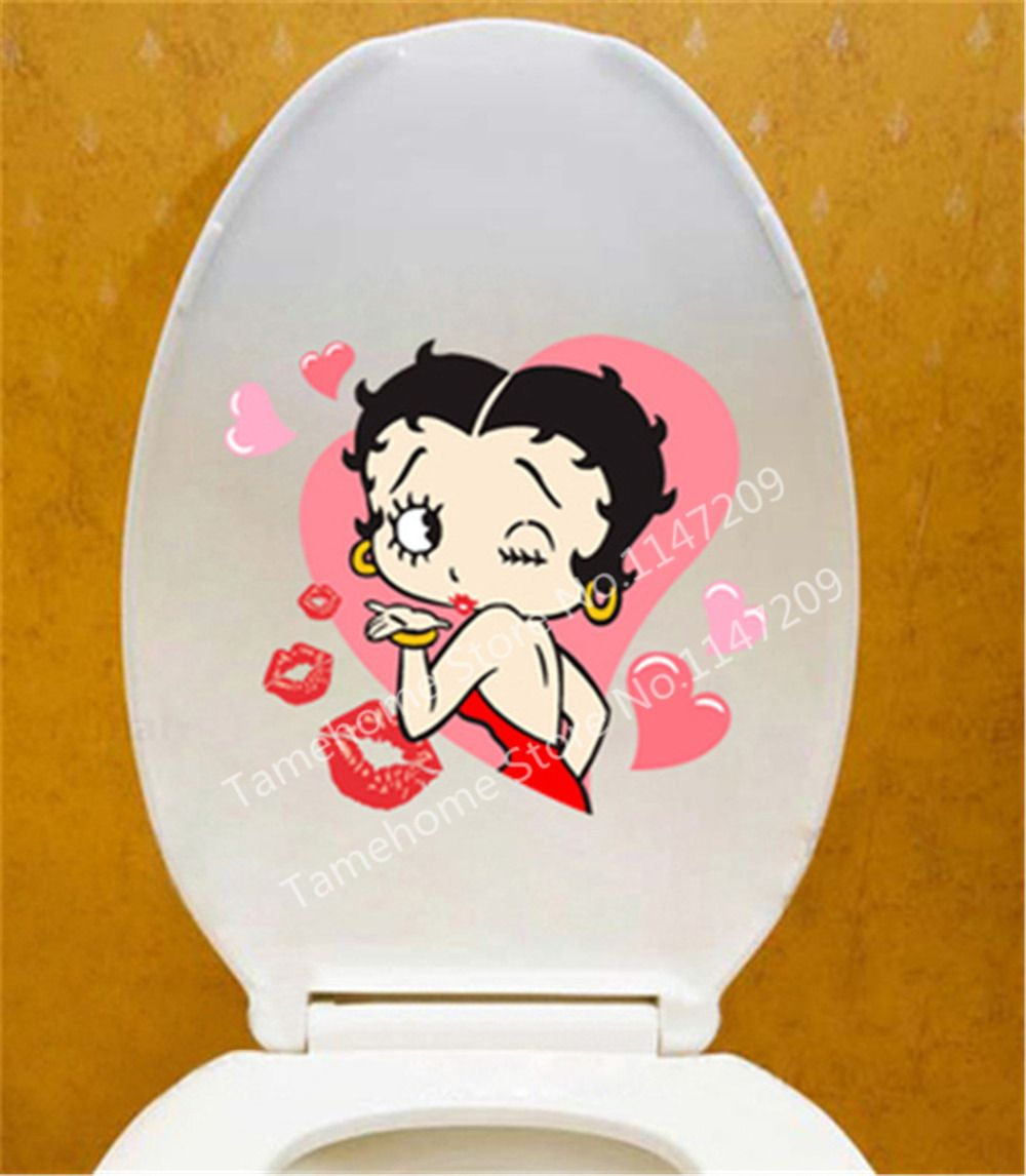 Tamehome Betty Boop Toilet Seat Sticker Home Decor Wall Stricker Cute Cartoon Wall Sticker Bathroom Best Gift For Who Lo Cartoon Wall Betty Boop Art Betty Boop Betty boop bathroom decor