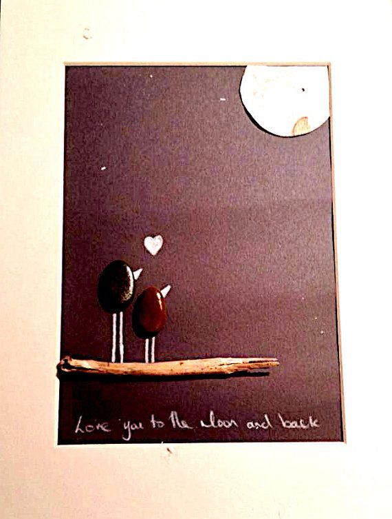 Love You To The Moon - Pebble Art