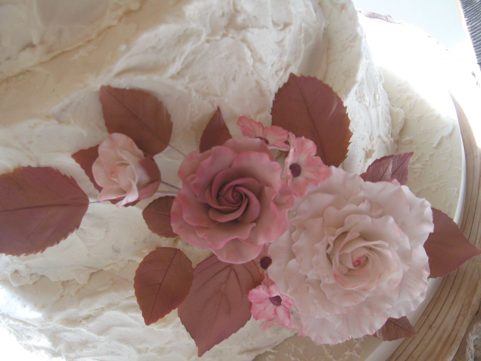 Hand made spray of light pink and soft brown sugar roses ...