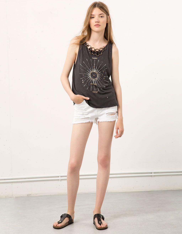 Camiseta Bershka estampado estrella collar - Camisetas - Bershka España