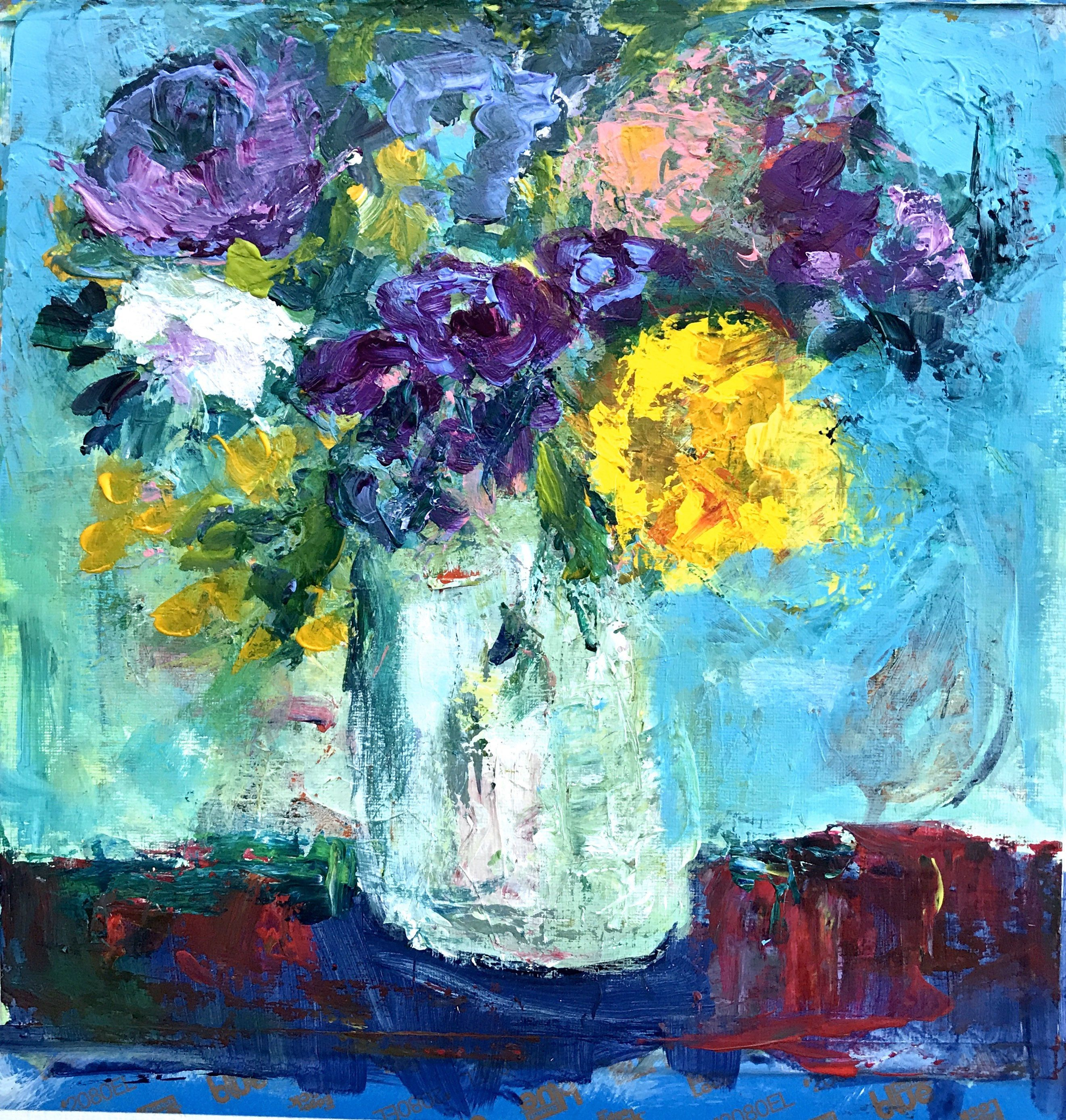 Abstract purple flowers etsy floral painting original