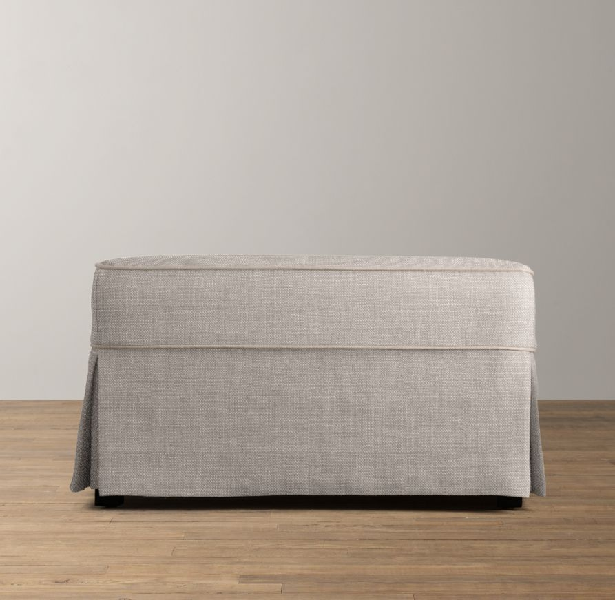 Belgian Linen Camelback Ottoman with Slipcover - Color: Dove - Belgian Linen Camelback Ottoman With Slipcover - Color: Dove