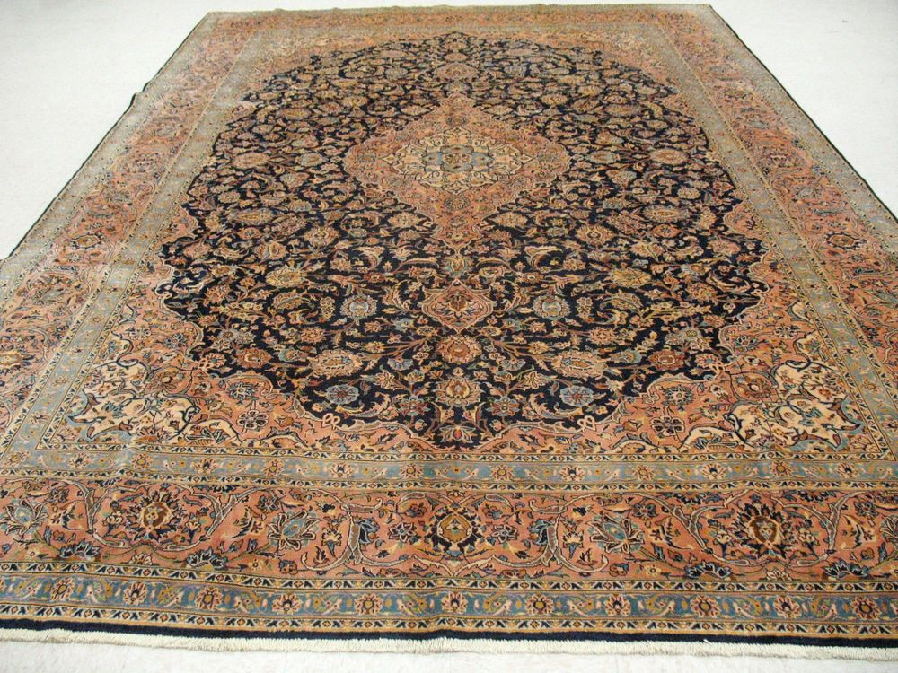 10 X 14 Persian Kashan Hand Knotted Wool Navy Peach Signed Oriental Rug Carpet Oriental Rug Rugs On Carpet Rugs