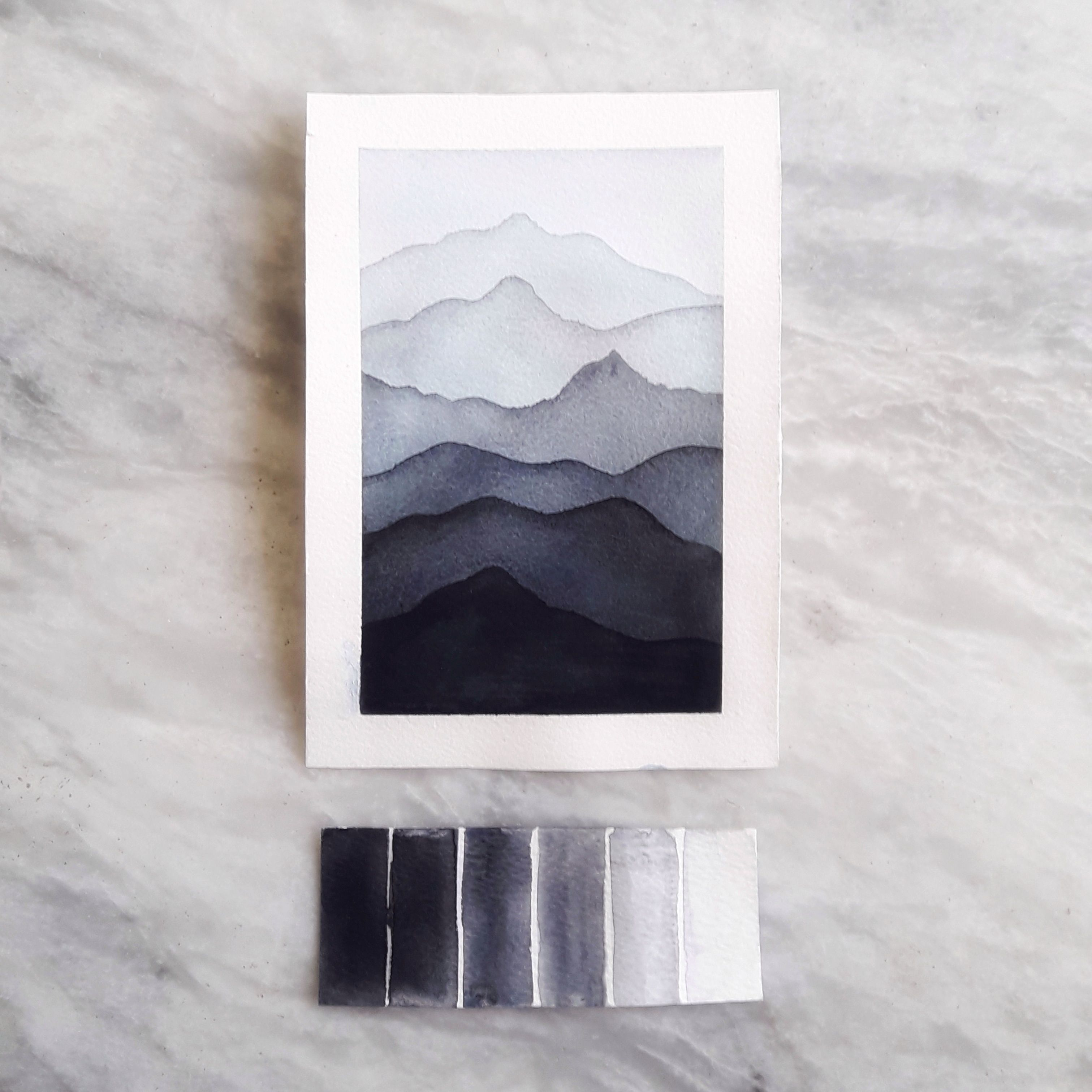 A Light Airy Landscape Watercolour Mountains Gradient