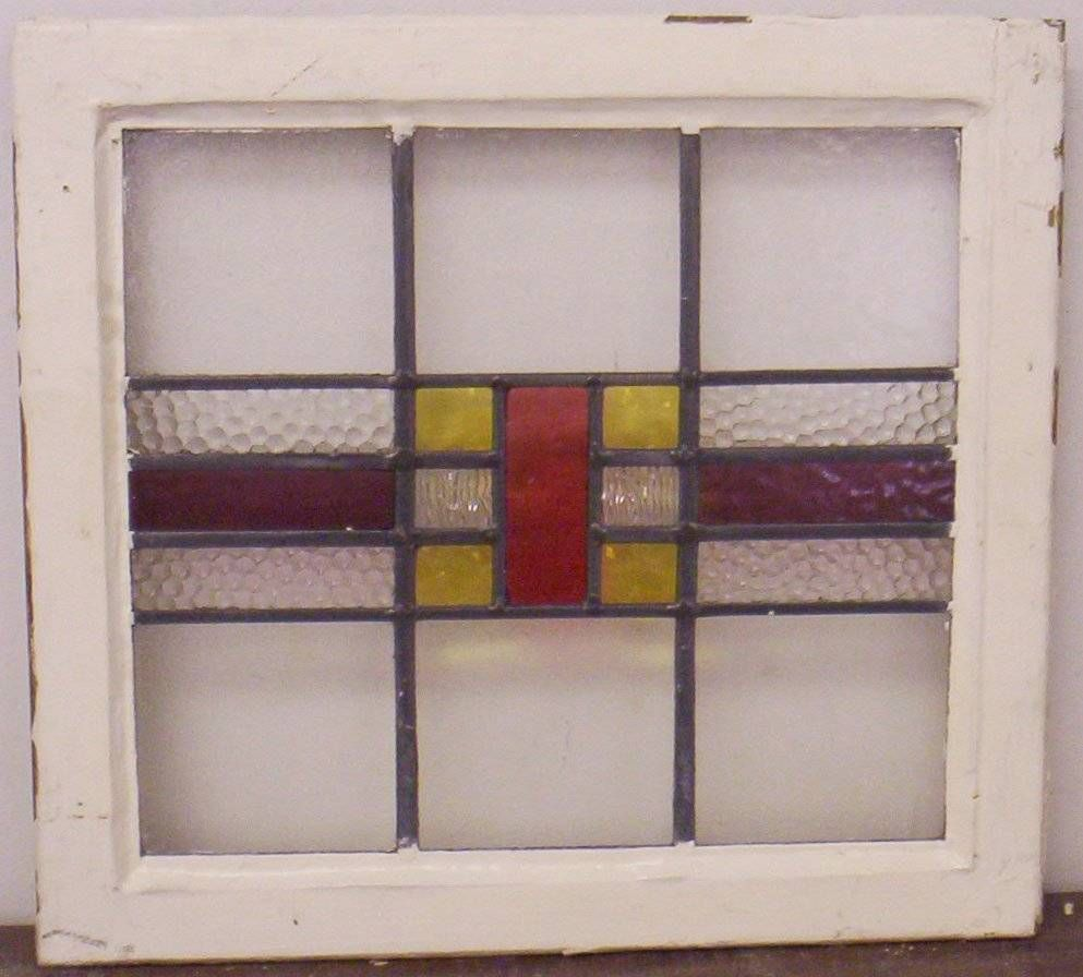 OLD ENGLISH LEADED STAINED GLASS WINDOW Geometric Design 20.25\