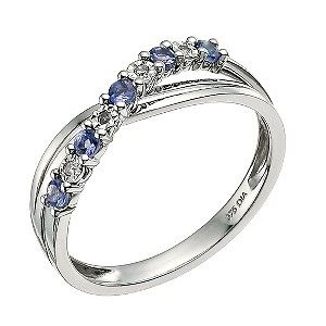 c8a7c6a54 My wedding ring! 9ct White Gold Diamond & Tanzanite Crossover Ring - Product  number 9589422