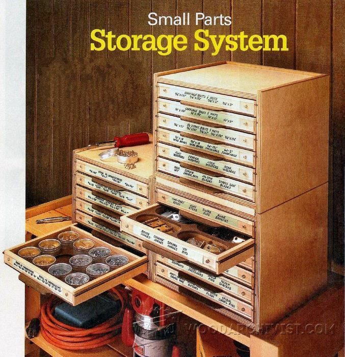 Small Parts Storage System Plans