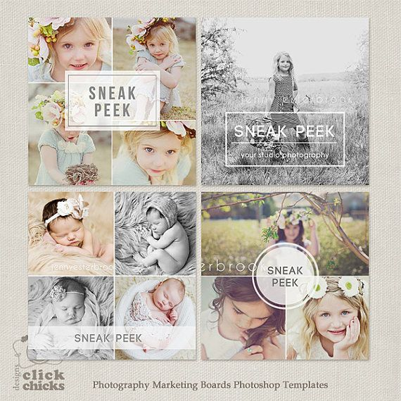 Sneak Peek Blog Board & Collage Photoshop Template for Photographers ...