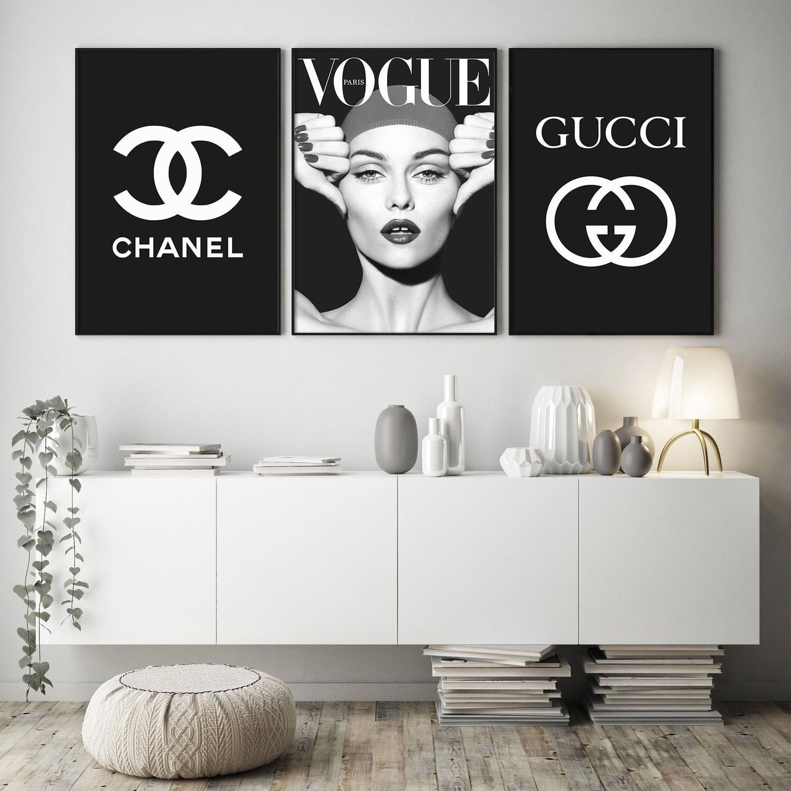 Vogue Print Set Of 3 Prints Bedroom Wall Decor Chanel Art Etsy Wall Decor Bedroom Chanel Wall Decor Framed Prints Bedroom
