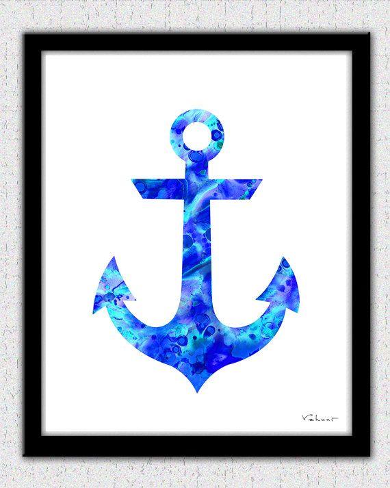 Blue nautical print set compass waterclolor by FluidDiamondArt