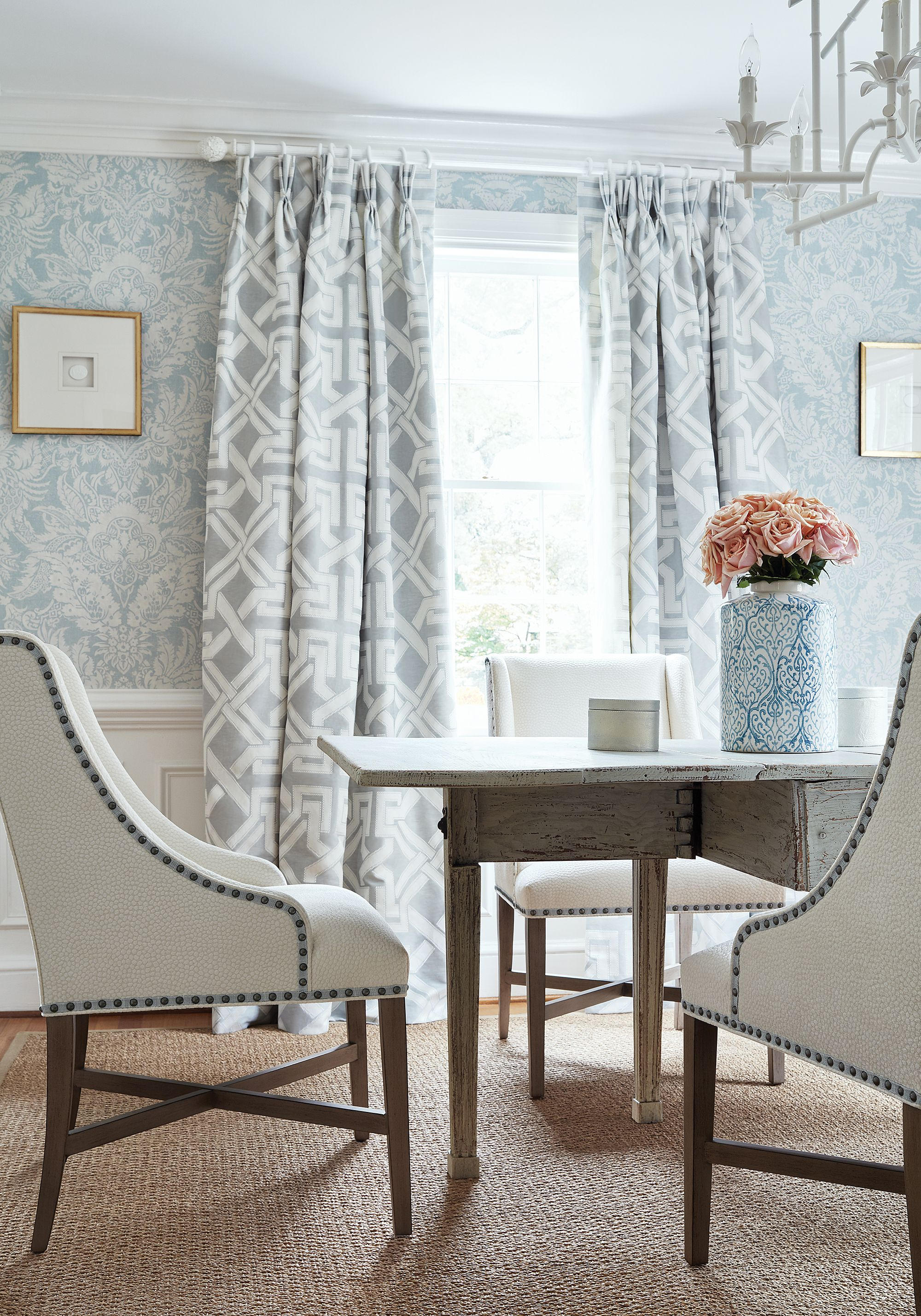 Hayden Dining Chairs In Kali Woven Fabric In Snow White From Thibaut Fine Furniture Damask Decor Interior Design Thibaut Wallpaper
