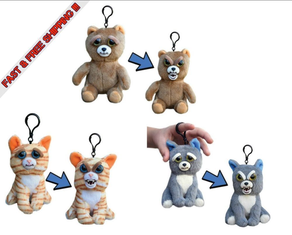"""Feisty Pets Mini's 5"""" Plush School Backpack Charm Squeeze"""