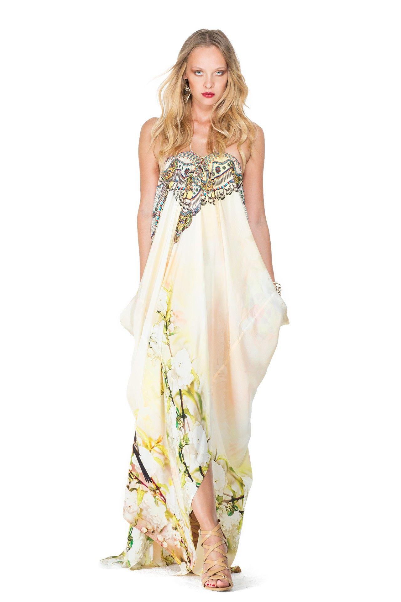 Floral Print Long Lace up Kaftan Dress in Cherry Blossom As seen on Lisa Vanderpump