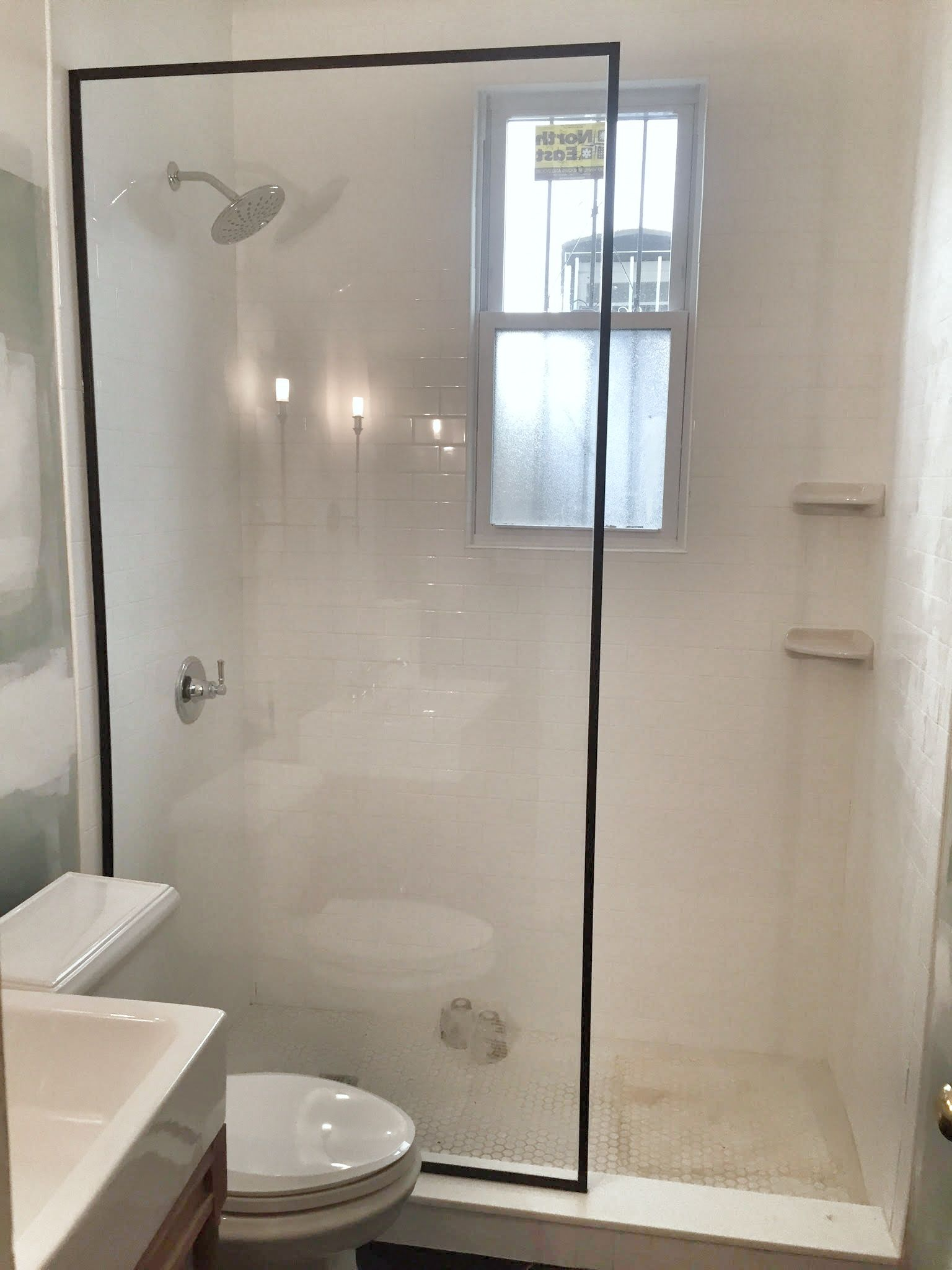 Black Framed Fixed Panel Walk-In shower screen | Shower & Tub Splash ...