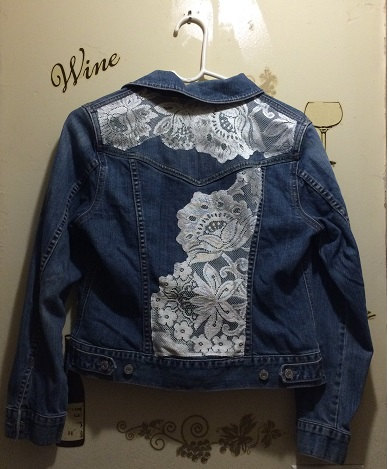 DENIM AND LACE, Up-Cycled Denim Jacket with Lace Trim, Gap Misses ...