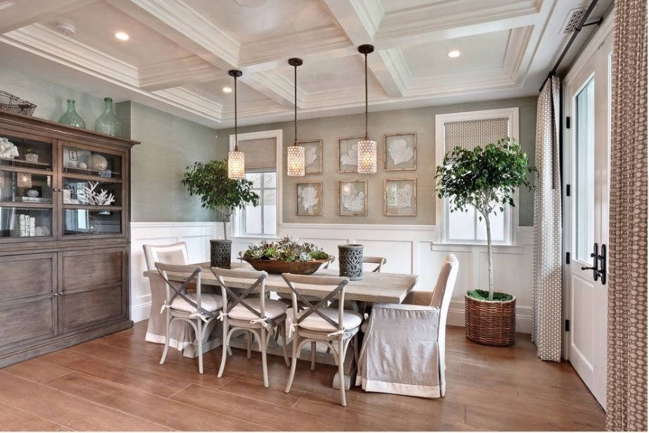 Fabulous Trestle Table Decorating Ideas For Arresting Dining Room Beach Design With Chair Cushions Coffered