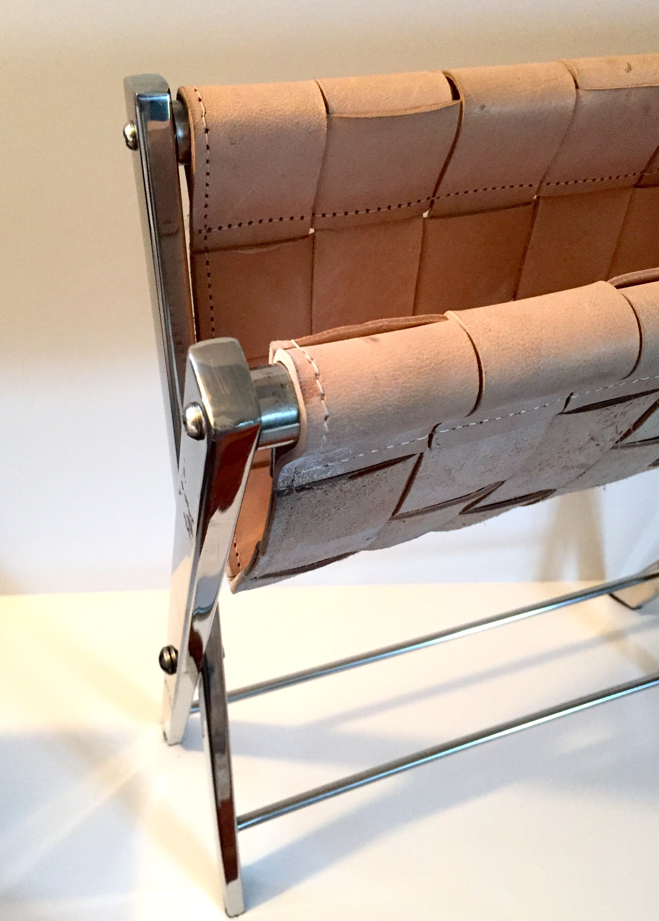 Magnificent Chromed Steel And Woven Leather Folding Stool Luggage Rack Lamtechconsult Wood Chair Design Ideas Lamtechconsultcom