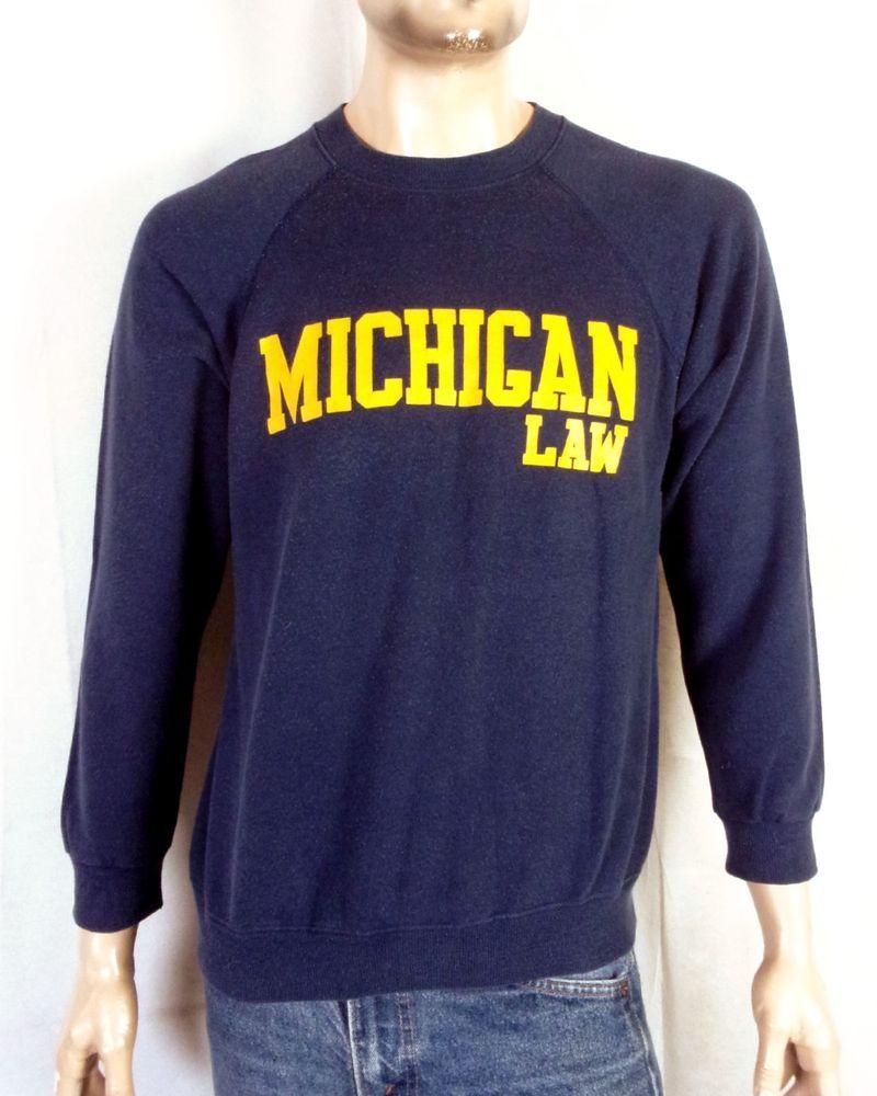 vtg 80s retro Rare Michigan Wolverines Law Sweatshirt Raglan Lawyer NCAA sz  L 2810a9d67