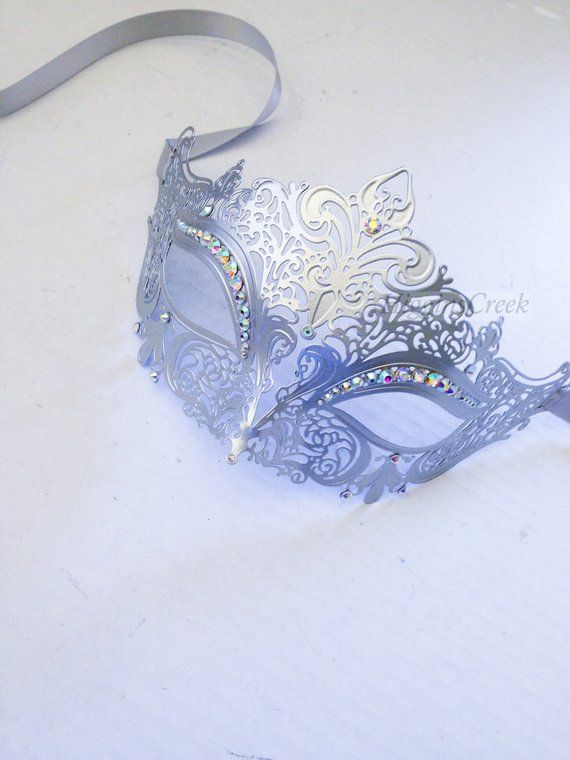 Masquerade Mask Women, Silver Masquerade Mask, Masquerade Ball Mask, Mardi Gras Mask, RHINESTONES and CUSTOMIZED