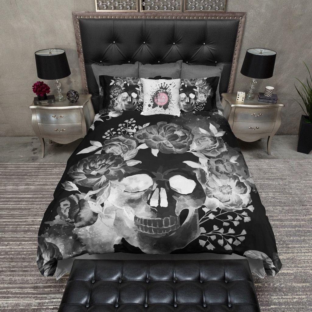 Black Night Watercolor Skull Bedding Duvet Bedding Sets Bedroom Decor Skull Bedding