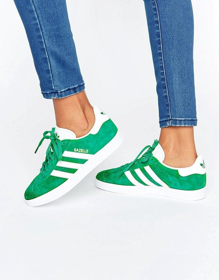outlet store 69f05 ce360 Adidas Originals Forest Green Suede Gazelle Sneakers