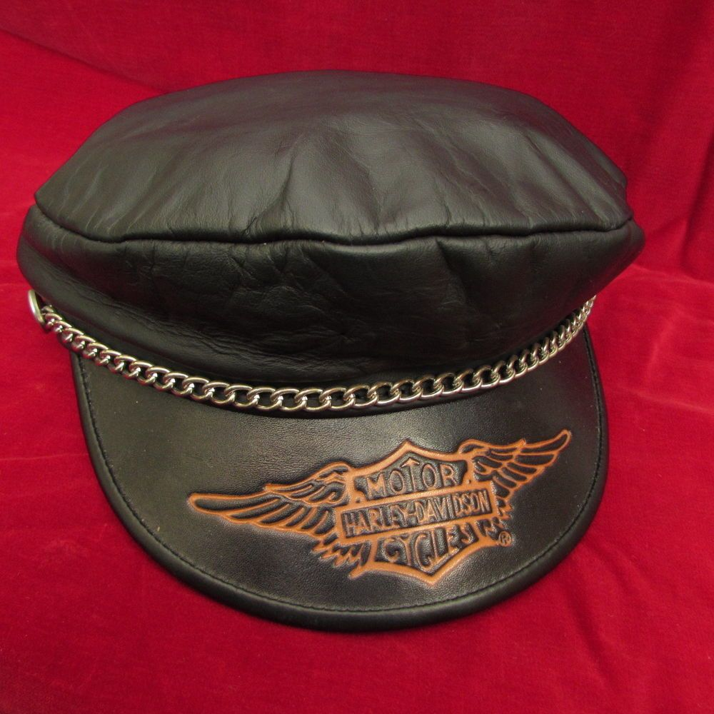 3386a6701 Details about Vintage Harley Davidson Black Leather Captains Cap Hat ...