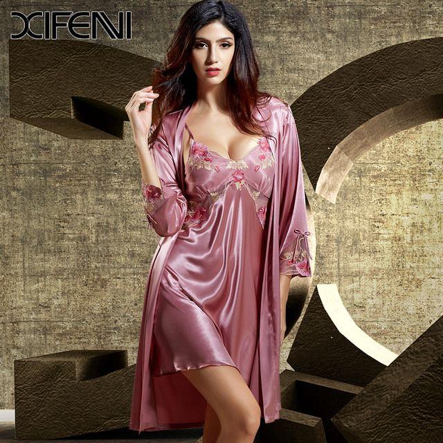 1ade3fc9b 2016 Novo Luxo Vitage Mulheres Nightwear Sexy Com Decote Em V Vestido de  Dormir Robe De Seda Conjuntos de Pijama