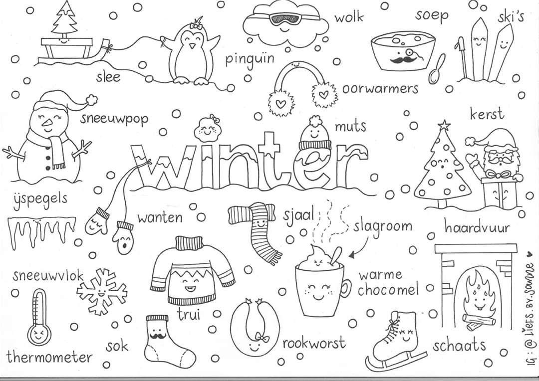 Winter Woorden Kleurplaat Schoolactiviteiten Winter Alfabet Kleurplaten