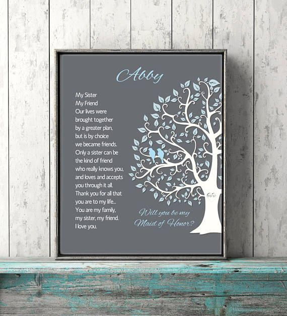 Sister Gift Maid Of Honor Proposal Personalized Wedding