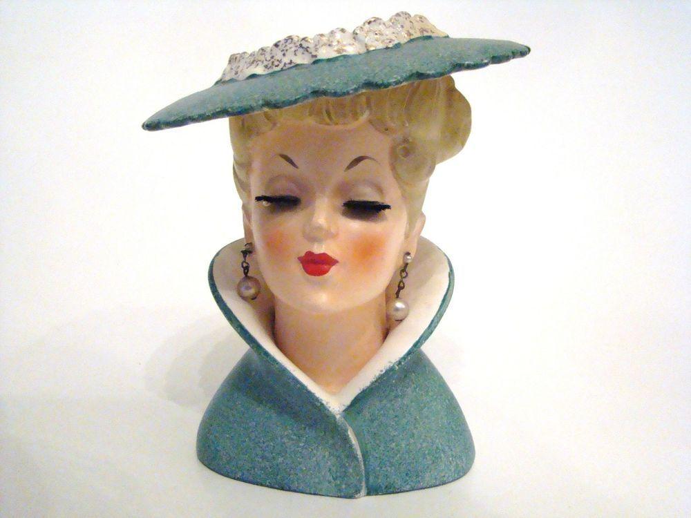 Vintage Lady Head Vase 1959 Lady Head Vase In Green Hat Napco C3815c Napco Head Vase Vintage Ladies Ceramic Lady Heads