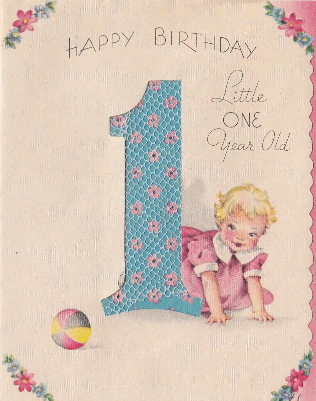 Vintage Greeting Card Baby e 1 Year Old First Birthday Baby
