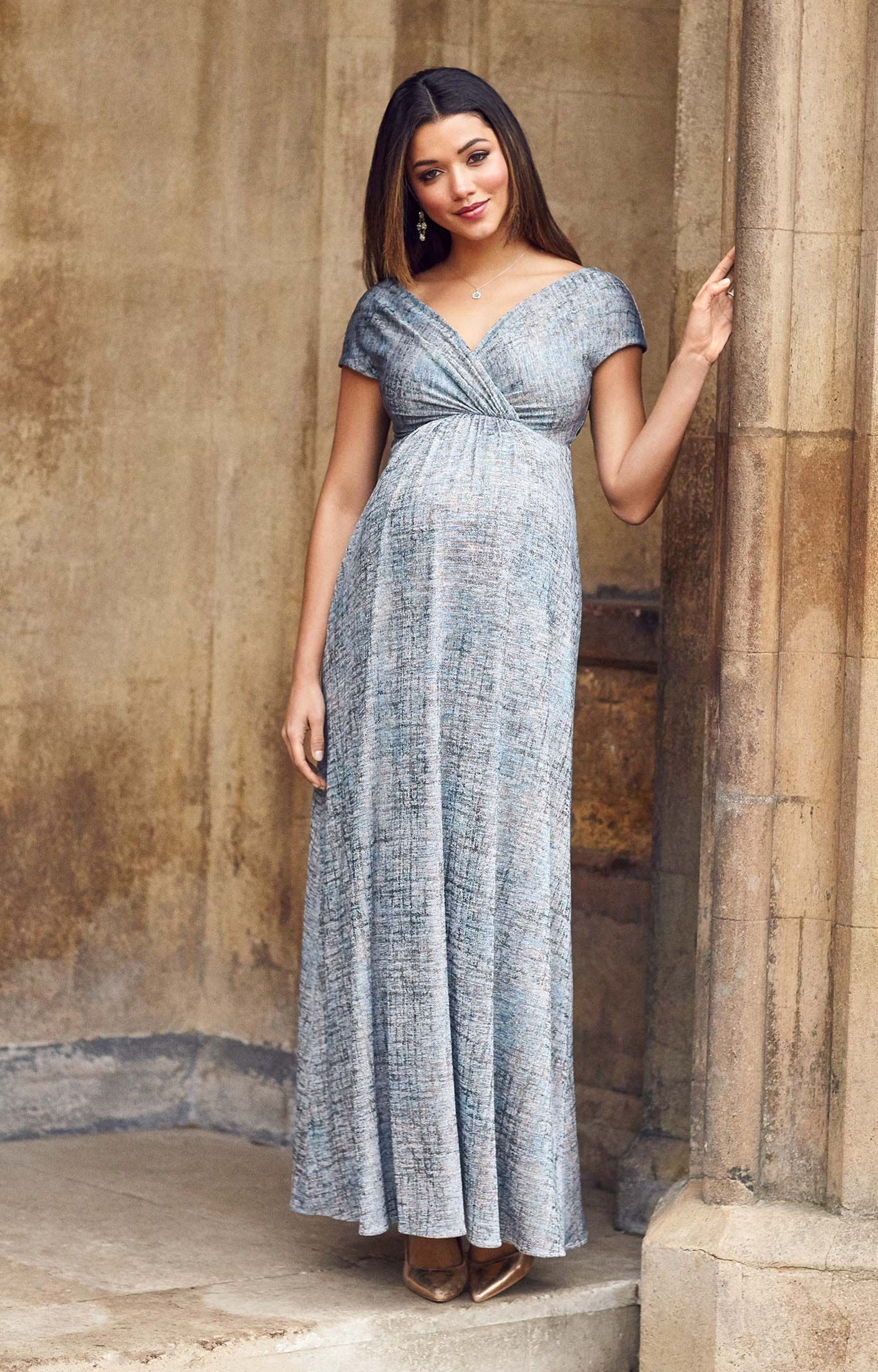 f089ec2dde0 Francesca Maternity Maxi Dress Bronze Blue by Tiffany Rose ...