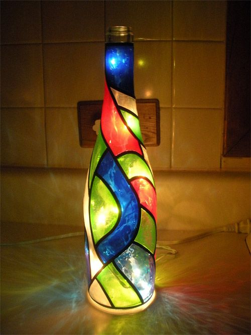 Stained Glass Bottles Google Search Lamp Pinterest Glass Amazing Stained Glass Wine Bottle Decorations