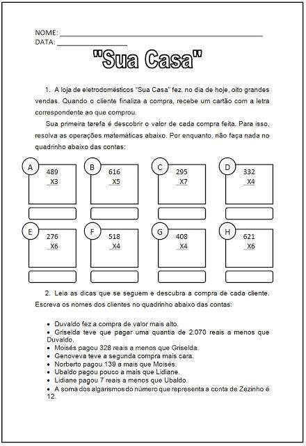 Atividades Escolares - Resolva as operações matemáticas