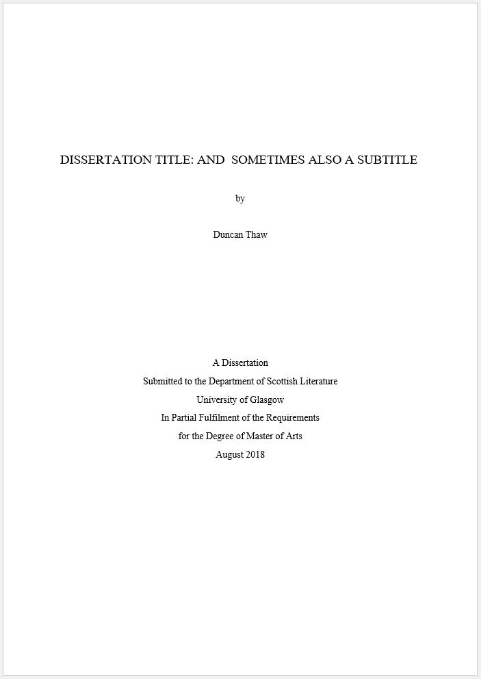 How To Create A Title Page For Your Dissertation In 2020 Format Word Template